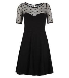 Black Polka Dot Mesh Top Skater Dress
