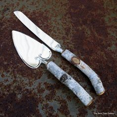 Rustic Wedding Cutlery Birch Cake Server and Knife from a Real Birch Tree Handmade  Stainless steel cake knife and server with real birch wood