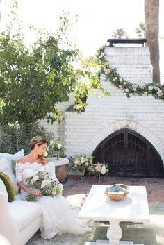 Stunning details abound in this gorgeous scene! Photo: Wheeland Photography Planning: Events by Cori Dress: Casablanca Bridal Venue: The Casino San Clemente Rentals: Found Vintage Rentals