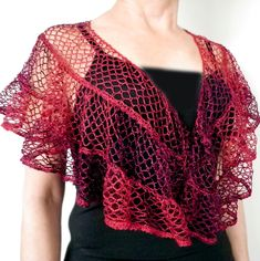 This shawl is similar to the Kelp Forest Shawlette but it is a half-circle, not a circle. Starting from the neck, the rows are made by crocheting the thin edge into the wide edge. The tricky part is turning at the end of each row. To do this, fold the yarn under at 45° and slip stitch across to the wide edge. The pattern includes detailed photos.