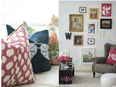 Like the picture arrangement and chevron pattern on wall. From Caitlin Wilson Design.