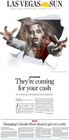 The zombie that's popping out is freighting, but it's impressive how the zombie looks like she is coming out of the newspaper and coming to get you. The zombie makes the layout striking.