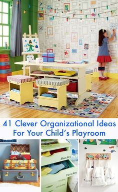 41 Clever Organizational Ideas For Your Child's Playroom - some of these look awesome.  Just don't forget to secure storage units to the wall to prevent accidents.