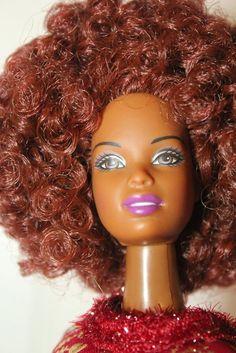 Red Diva! Big Red Afro Full Head Reroot Christie Doll OOAK #Mattel