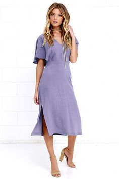 Even the busiest of days will feel like a dream when you wear the Drift Away Dusty Purple Midi Dress! Rayon-linen blend cascades effortlessly to cape sleeves, and a V-neck, all atop a fitted waist and midi skirt with two short side slits. Back opening is topped with a button closure. Hidden back zipper with clasp.