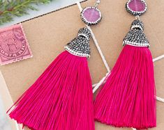 Radiant blue & silver earrings, with pave strass agate stone and a pave strass silk tassel, gift, gemstones, presents, jewelry