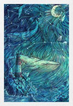 Fantasy Kunst, Fantasy Art, Moby Dick, Sea Art, Canvas Prints, Art Prints, Japanese Art, Art Inspo, Cool Art
