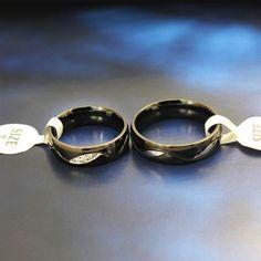 Micro Inlaid Cubic Zirconia Black Titanium Steel Couple Rings