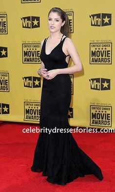 Anna Kendrick Black Mermaid Prom Gown 15th Annual Critics' Choice Awards Formal Dress.prom dresses,formal dresses,ball gown,homecoming dresses,party dress,evening dresses,sequin dresses,cocktail dresses,graduation dresses,formal gowns,prom gown,evening gown