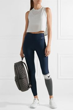 Nike - Power Striped Dri-fit Stretch Leggings - Midnight blue Source by Legging Outfits, Nike Outfits, Cute Teen Outfits, Sporty Outfits, Casual Summer Outfits, Athletic Outfits, Leggings Fashion, Fashion Outfits, Athletic Wear