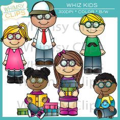 The Whiz Kids clip art set features 6 different kids in 2 different poses. This set includes 24 image files which contains 12 color images and 12 black & white images in png and jpg. All images are 300dpi for better scaling and printing. $