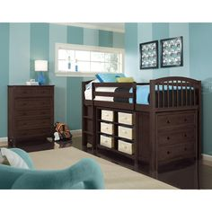 NE Kids School House Collection Chocolate Junior Loft with Rails Short Vertical Bookcase Horizontal Bookcase and 3-Drawer Chest