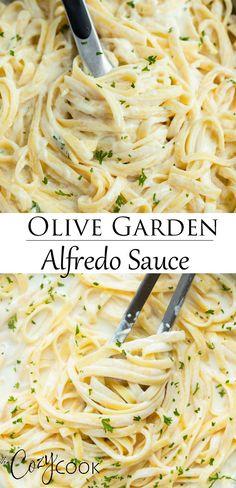 Olive Garden's Alfredo Sauce Make Olive Garden's famouse Fettuccine Alfredo recipe right at home! It's so easy and takes just 20 minutes. Sauce Recipes, Pasta Recipes, Chicken Recipes, Dinner Recipes, Cooking Recipes, Healthy Recipes, Fettuccine Alfredo, Pasta Primavera, Alfredo Recipe