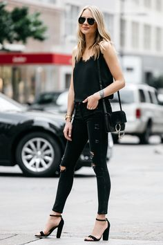 Anine bing black lace camisole, zara black denim ripped skinny jeans, c. Fashion Blogger Style, Fashion Mode, Look Fashion, Womens Fashion, Heels Outfits, Mode Outfits, Casual Outfits, Fashion Outfits, Casual Heels Outfit
