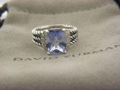 David Yurman Petite Wheaton Ring, Blue Topaz and Diamonds SZ 5.5 MINT