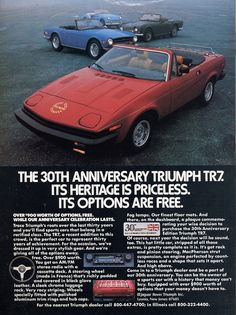 1980 Triumph car print ad Red convertible Anniversary Heritage is…