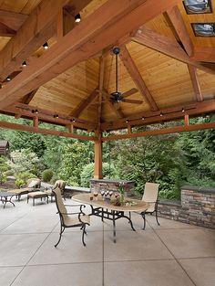 Covered patio | Drystack stone with slab tops offer outdoor … | Flickr