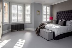 Kyrle Road by Plantation Shutters Ltd Home, House Styles, Clapham, Contemporary House, House Colors, Dark Walls, White Shutters, Bay Window Shutters, Home Styles