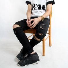 (33.77$)  Watch more here - http://ai1mh.worlditems.win/all/product.php?id=32628701948 - Men jeans skinny zipper ripped hole jeans for men distressed kanye west hip hop swag black jeans fashion design denim trousers
