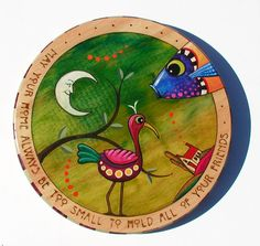 Lazy Susan hand painted with bird fish by ChuckPetersonDesigns