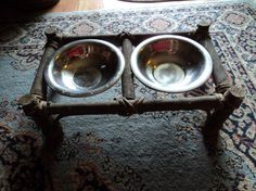 Hand made feeding stand for large dogs/ Folk Art by WhiskeysWhims