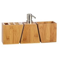 Take the natural theme into your bathroom with this Mileno Bamboo Benchtop Set