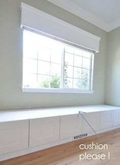 """window seat made with ikea refrigerator cabinets - 15"""" high and 24"""" deep plus support frame. Sunroom wall - #decoracion #homedecor #muebles"""