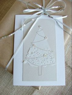 Christmas card - white on white doily tree with sewing machine