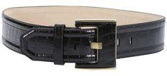 Fashion Focus black croc-embossed faux leather wide waist belt