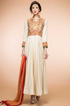 465d42b8edfe56 Cream Silk Anarkali churidar Suit With Dupatta - 1798 Anarkali Churidar,  Churidar Suits, Anarkali