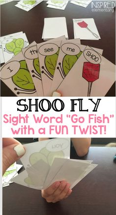 "SHOO FLY is a game similar to ""Go Fish"" but with a fun twist! There are ""SHOO"" cards in each deck which make the game more exciting! ALL 220 DOLCH SIGHT WORDS are included in five different decks of cards. Each deck has its own color fly and fly swatter, so you can easily differentiate the level of words being used. Mix and match sets based on your students' needs. Five extension activities are also included! $6"