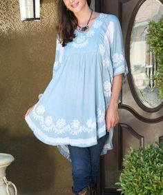 Another great find on #zulily! Gray Embroidered Scoop Neck Tunic by Ananda's Collection #zulilyfinds