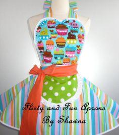 Pink Polka Dot and Stripes Cupcakes Apron by sjcnace4 on Etsy, $55.00