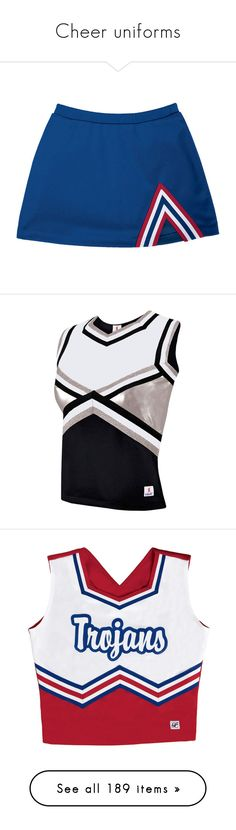 """""""Cheer uniforms"""" by supercait12 ❤ liked on Polyvore featuring tops, cheerleading, metallic top, shell tops, skirts, purple skirt, knee length a line skirt, purple a line skirt, a line skirt and cheer"""