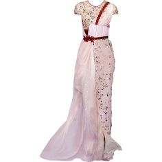 Satinee's collection - Basil Soda ❤ liked on Polyvore featuring dresses, gowns, long dresses, vestidos, pink ball gown, pink dress, pink evening gowns, pink evening dress and pink gown