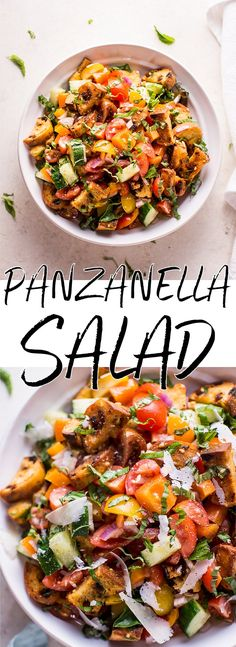 Panzanella is a classic Tuscan vegetarian tomato and bread salad that's fresh, flavorful, colorful, and makes a healthy meal or side salad.