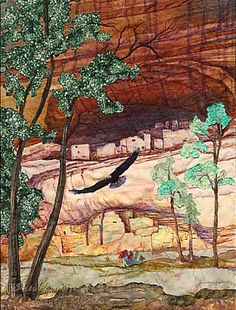 Artist Jeanine Malaney display the fabric art landscape quilt Canyon de Chelly a quilt of the white house in Southwestern Quilts, Southwest Art, Watercolor Quilt, Watercolor Paintings, Landscape Arquitecture, Landscape Art Quilts, Desert Art, Desert Rose, Quilted Wall Hangings