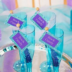 Rock candy swizzle sticks with cute-n-colorful drink tags = party planner look on the cheap!