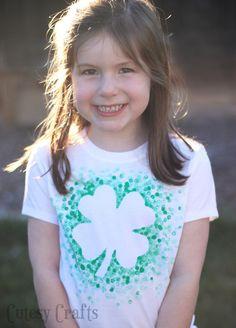 Eraser-Stamped St. Patrick's Day Shirt - Made with Freezer Paper and a pencil eraser! #craft #stparticksday
