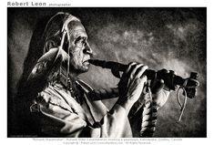 Mohawk Peacemaker smoking peacepipe, Kahnawake, Quebec, Canada