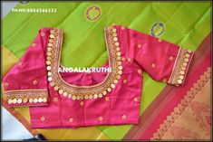 Kids Blouse Designs, Simple Blouse Designs, Stylish Blouse Design, Pattu Saree Blouse Designs, Blouse Designs Silk, Sari Blouse, Blouse Patterns, Mirror Work Blouse, Maggam Work Designs