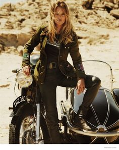 Kate Moss in Biker Jackets for Matchless Londons Fall 2014 Ads