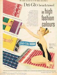 Dri Glo Beach Towels Ad Nell Wilson Art Vintage Advertising 8 Oct 1958 Original | eBay