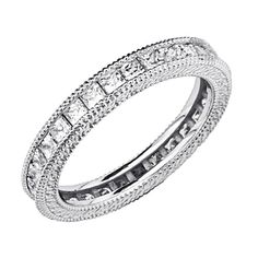 925 Sterling Silver Rhodium Plated Wedding Eternity Band  Size 7 *** Click on the image for additional details.
