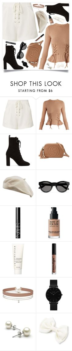 """""""Lace up"""" by angie-simonon ❤ liked on Polyvore featuring A.L.C., Alexander McQueen, Yves Saint Laurent, Gucci, Givenchy, NARS Cosmetics, MAKE UP FOR EVER, Chantecaille, NYX and Miss Selfridge"""