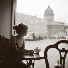quiet moment in a cafe.