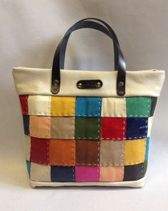 Leather bag – handmade - My CMS Leather Bags Handmade, Handmade Bags, Leather Purses, Leather Handbags, Bag Pattern Free, Sewing Art, Patchwork Bags, Fabric Bags, Prada Handbags