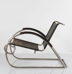 Erich Dieckmann; Nickel Plated Steel And Stained Beech Armchair, 1930s.