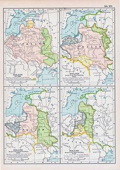 1902 Antique Map of Poland through the Centuries - Century Atlas Map House Colors, Color Splash, Poland, Colours, Map, History, Antiques, Europe, Antiquities