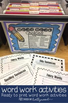 Word Work Activities- Ready to print!!